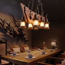 Retro Industrial Pendant Lamp 6 head Old Boat Wood Light American Country style Edison Bulb Free Shipping(China)