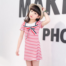 The New  Girls Dress2017 The Senior Service Wind Child Stripe Dress Girls Summer Dress Wear Children's Clothes