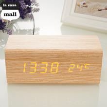 Sound Control USB Solid Wooden Desk Bedside Digital Alarm Clock Thermometer Display Orange Light New Promotion LED Alarm Clock(China)