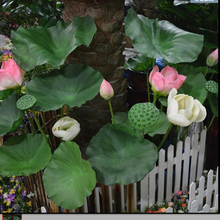 Simulation lotus leaves artificial flowers single branch lotus flower buds flower fake plant home decoration(China)
