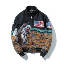 Lunar Space Exploration Moonlanding Astronauts Stand Collar Design Outerwear Coat Jacquard Embroidery Jacket