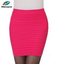 DIGUYAO New Fashion 2016 summer style Elastic Women Skirts High Waist Candy Color Plus Size Elastic Pleated Short Skirt