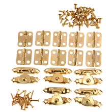 5Pcs Antique Gold Jewelry Wooden Box Case Toggle Hasp Latch +10Pcs Cabinet Hinges Iron Vintage Hardware Furniture Accessories(China)