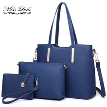 Miss Lulu Brand 1 Set 3 Pieces Women Designer Shoulder Handbag + Cross Body Satchel Bag + Purse PU Leather Tote Navy LT6648