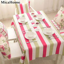 100% Cotton Rustic Dining Table Cloth Pink Green Stripe Tablecloth Korean Style Tablecloths