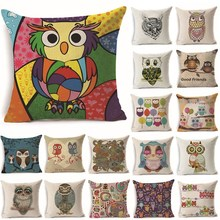 1Pcs 43*43cm Lovely Colorful Owl Pattern Cotton Linen Throw Pillow Cushion Cover Car Home Sofa Decorative Pillowcase 40242(China)