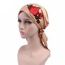 2017 KLV summer beach hot sales cap Muslim Syle Women Rose Embroidery Cancer Chemo Hat Turban Head Wrap Cap fashion(China)