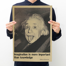 1 50X35.5 cm Inspired Einstein Poster Home Decorative Wall Stickers Imagination is more important than knowledge(China)