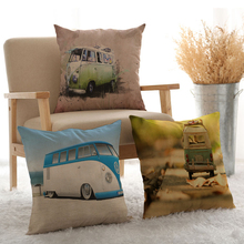 New Arrival Car Printing Style Linen Cotton Cushion Cover Paris Bus Taxi Pillow Case Home Decorative Art