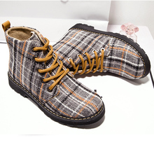 Women Boots High Quality Cotton Material Lace Up Solid Casual Ankle Boots Martin Round Toe Women Shoes(China)
