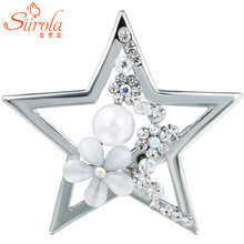 SIIROLA Jewelry Silver-color Five pointed star Brooch Crystal Imitation pearl Opal flower Hijab Lapel pins Scarves buckle clips