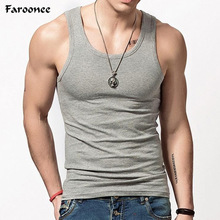 Faroonee Brand Clothing Men's O neck Sleeveless Bodybuilding Tank Tops Slim Fits Tee Tops Male U Tank Top Vest White Black Y1521