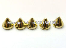 2013 fashion ABS 8mm gold plastic spike studs hand sewing glue onnailhead DIY clothes accessories 500pcs/lot free shipping