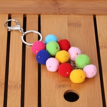 2017 Korean Style Colorful Plush Key Chain Bag Purse Rainbow Charm Keychain Women Ladies Girls Bag Accessories P40