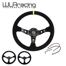 WLRING STORE- Racing 14inch OMP Suede Leather Steering  350mm Deep Corn Drifting Steering Wheel RED,BLUE,GOLD WLR-SW21
