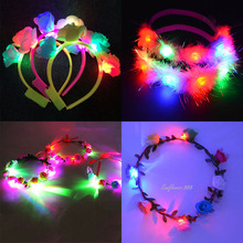 Women Girl Light Up Flower Headband Hawaii Hula LED Flashing Floral Garland Kids Headwear Party Hair Accessories New Year(China)