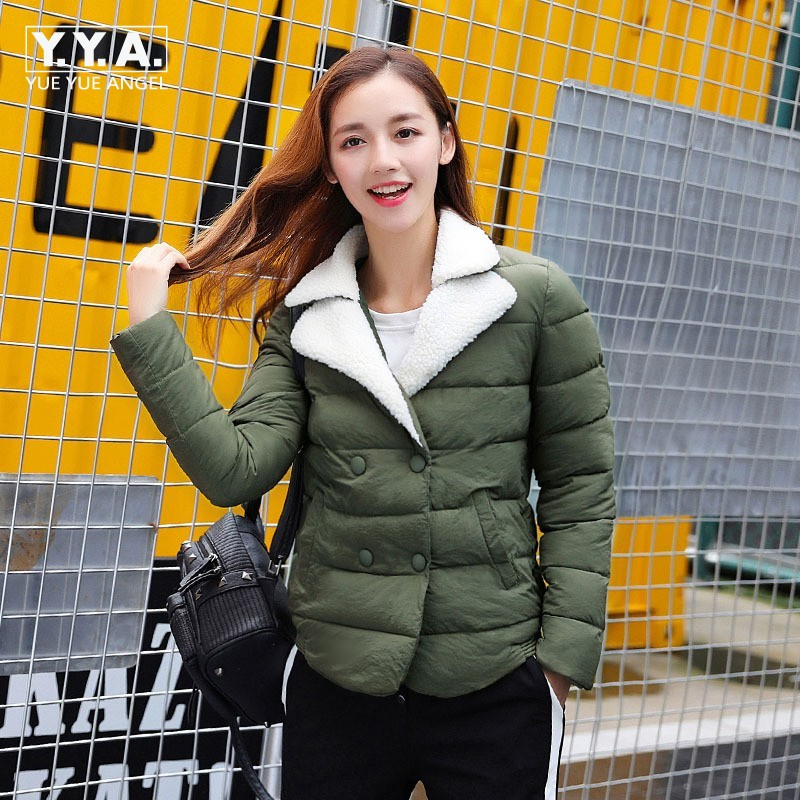 Lovely Short Style Womens Parkas Autumn Winter Thick Female Jacket All Match Fur Lapel Collar Coat Double Breasted OvercoatsÎäåæäà è àêñåññóàðû<br><br>