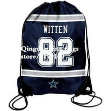 top hot sale 35*45 cm Knitted Polyester Dallas Cowboys NO.82 WITTEN drawstring backpack With Metal Grommets Flag Bag(China)