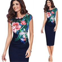Fashion Elegant Office Ladies Dress Formal Business Work Floral Pencil Slim Bodycon Midi Dresses Summer Flower Clothes