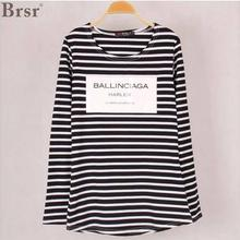 2017 new European and American fashion new winter women's striped long-sleeved cotton T-shirt printing  Free shipping