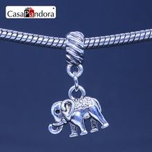 CasaPandora 925 Plated Shape Of Elephant Pendant Fit Bracelet Charm DIY Bead Jewelry Making Pingente Berloque