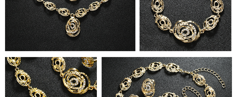 AYAYOO African Beads Jewelry Set Statement Flower Necklace Sets For Women Imitation Crystal Women Wedding Jewelry Set (2)