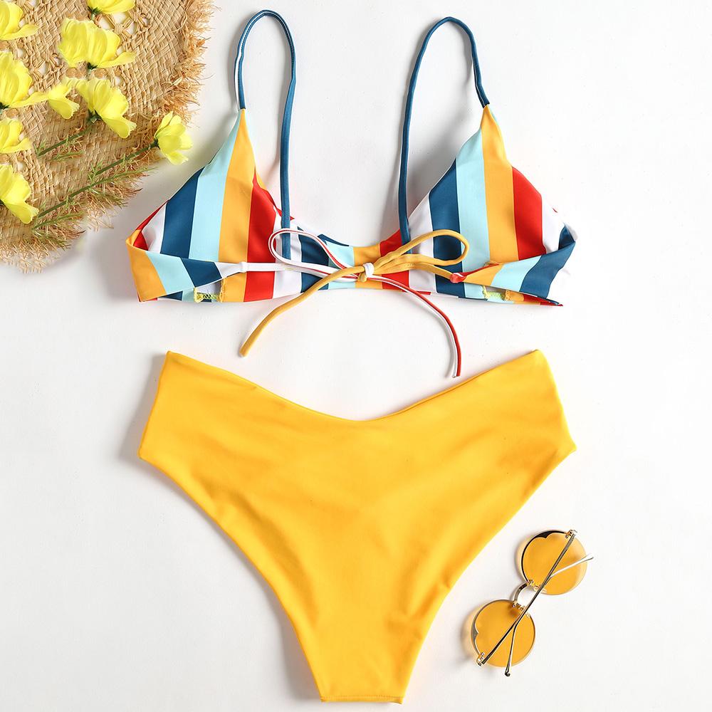 19 Striped High Cut Bikini Set Colorful Lovely Girl Swimwear Women Swimsuit Bandage Backless Bathing Suit Maillot De Bain 6