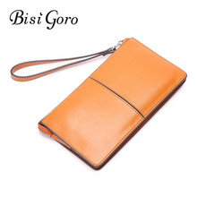 BISI GORO 2017 Cowhide Leather Women Wallets Female Fashion Long Clutches Women Purse Ladies Coin Purse Card Holder Zipper(China)