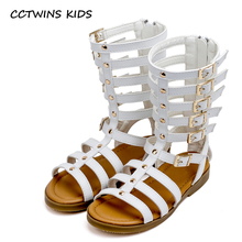 CCTWINS KIDS 2017 Summer Girl Knee High Sandal Toddler Gladiator Black Sandal Baby Brand Children Pu Leather White Boot B774