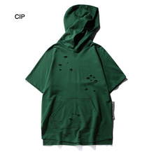Hooded T-shirt Men 2017 High Street Fashion Hole Hip Hop Short Sleeve Pullover Green Loose Solid Tee Shirt Homme