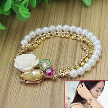 1pc Chic Multilayer Metallic Thread Rhinestone Rose Flower Faux Pearl Bracelet Gift for Women