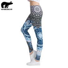 Women Fitness Leggings Fashion Legging Aztec Round Ombre Printing Leggins Female Legins Sexy Pants High Waist Trouser WAIBO BEAR