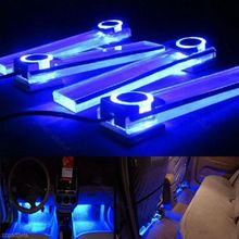 4pcs 12V Car LED Light Blue Car Decorative Atmosphere Lamp Charge LED Interior Floor Decoration Lights For BMW e46,e39,chevrolet