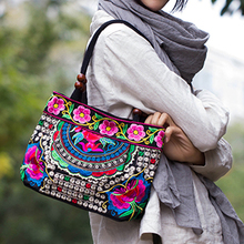 New National Trend Small Canvas Embroidery Ethnic Wooden Beads Shoulder Bag Women Handmade Flower Embroidered HandBag Mochila(China)