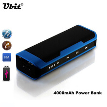 Ubit BT J6 Portable Mini Bluetooth Speaker Stereo Sound Box Mp3 Player Touch Speakers With FM Mic Handsfree 4000 mAh Power bank