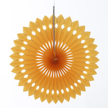 (1 pc) 10inch=25cm Party Decors Gold Yellow Honeycomb Pinwheels Foldable Tissue Paper Fan Hanging Weddings Birthday Decorations