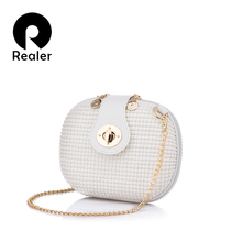 REALER brand women crossbody bags messenger bags candy color artificial leather chain mini female orange shoulder bag