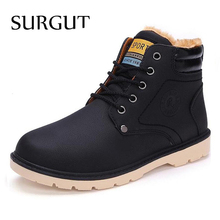 SURGUT Brand Hot Newest Keep Warm Men Winter Boots High Quality pu Leather Casual Boots Working Fahsion Boots Essential Shoes(China)