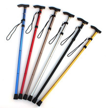 Six in color Alpenstock Aluminum alloy shock absorber T handle handle Climbing sticks walking stick Outdoor hiking supplies(China)