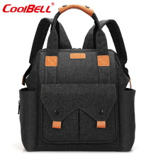 CoolBell Maternity Mummy Bag Baby Nappy Bag Backpack Large Capacity Baby Bag Include Changing Pad And Insulated Pouch(Black)