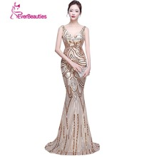 Sexy Mermaid Evening Dresses Long V Neck Cheap Sequins Long Formal Dress Elie Saab Dresses Real Pictures Robe De Soiree(China)