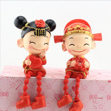 Sweet Drooping foot groom and bride Figurines Dolls Decoration,Home Decor Resin Marry Crafts for Birthday &Wedding Gifts(China)