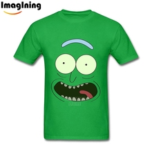 Funny Face Pickle Rick and Morty Unique Men's T-shirt Tee Shirts Cotton DIY For Men's Big Size T Shirt(China)
