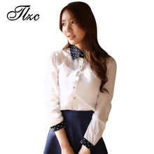 TLZC Sweet Lady Fashion Shirts Polka Dot Decor 2017 Hot Sale Women Casual Blouse Size S-2XL Lady Chiffon Shirts Slim Fit Clothes(China)