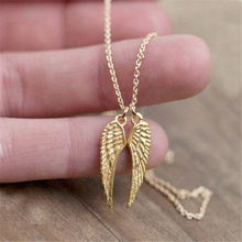 10PCS necklace wholesale Simple Cute angle wings pendant necklace cute angle wings necklaces for women girl jewelries(China)