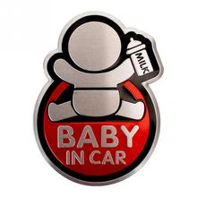 Aluminum Alloy Car Styling Sticker Cute BABY IN CAR Pattern Car Safety Warning Stickers Waterproof Window Sticker Auto Decal