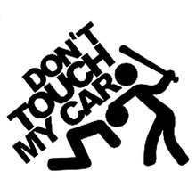 15CM*12.5CM Don't Touch My Car Sticker JDM Slammed Funny Decals Motorcycle Car Styling Accessories Black/Sliver C8-0147(China)