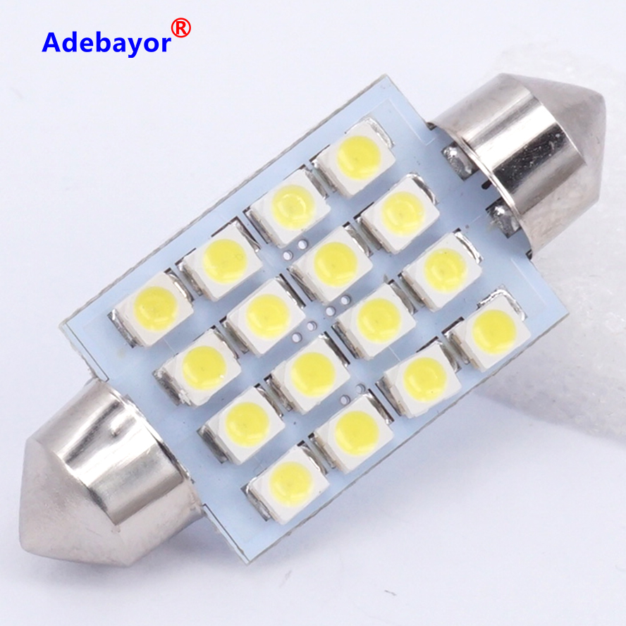 Pair Canbus 40-41mm 16 LED INTERIOR FESTOON DOME TRUNK CEILING LIGHT LAMPS BULBS