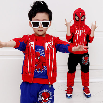 Spiderman 3 Pieces Suit 2015 NewChildren Clothing Sets Baby Kids Boy Long Sleeve Spider-Man Superman Hooded Clothing Suits Sets<br>