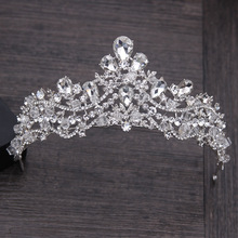 Luxury Crystal Rhinestone Hair Jewelry Silver Plated Bridal Tiara Crown Wedding Hair Accessories Gorgeous Bride Princess Crowns(China)